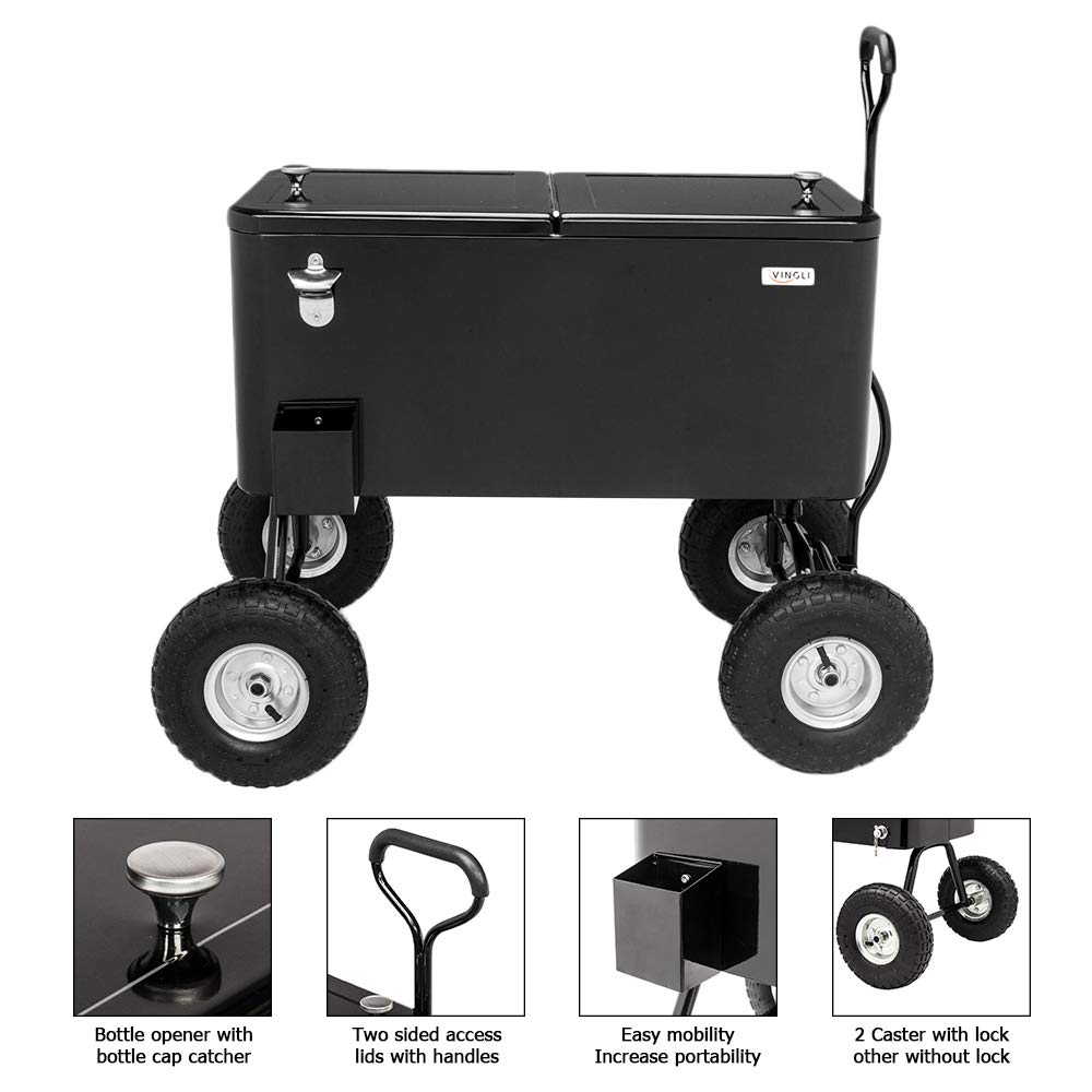 VINGLI 80 Quart Wagon Rolling Cooler Ice Chest, w/Long Handle and 10'' Wheels, Portable Beach Patio Party Bar Cold Drink Beverage, Outdoor Park Cart on Wheels (Black-Wagon) by VINGLI