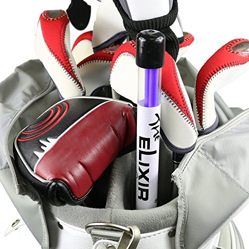 - 2 Pcs x The Elixir Golf Alignment Sticks Golf Training Aids Swing Plane Alignment Trainer Sticks in Carrying Tube, Purple