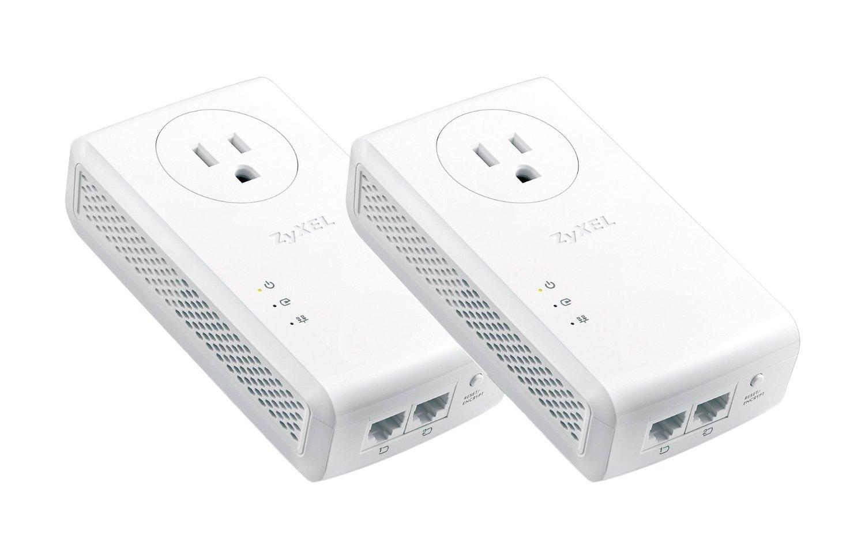 Zyxel AV2000 Powerline Kit, Pass-Thru, 2-Port Gigabit, Plug&Play, Up to 1800 Mbps (PLA5456BBKIT) by ZyXEL