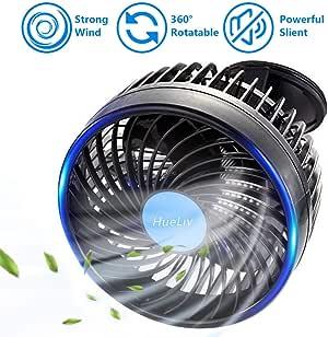 HueLiv Ventilador de Coche, Ajustable Ventilador Eléctrico con Ventosa Poderoso Silencioso Cambio de Velocidad sin Escalonamientos Rotativo 12V Ventiladores de Coches del Verano de Refrigeración (6): Amazon.es: Coche y moto