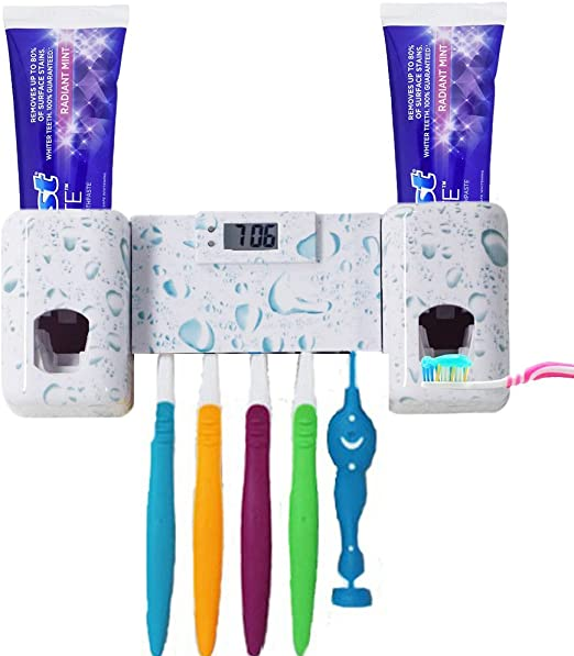 Amazon Com Wekity Toothbrush Holder With Double Combination Automatic Toothpaste Dispenser Toothpaste Holder With Electronic Watch 5 Toothbrush Grooves Super Strong Stickers And Screws For Bathroom White Home Kitchen