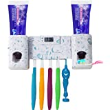 Wekity Toothbrush Holder with Double Combination Automatic Toothpaste Dispenser Toothpaste Holder with Electronic Watch 5 Toothbrush Grooves, Super 3M Stickers Pad and Screws For Bathroom(White)