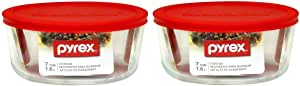 Pyrex Storage Plus 7-Cup Round Storage Dish with Red Plastic Cover Pack of 2 Containers, Clear, Red
