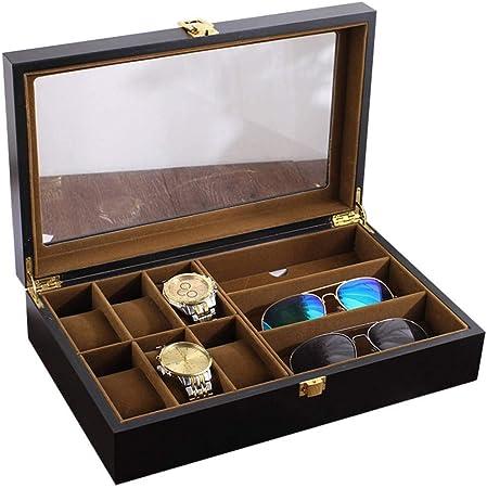 GOVD Caja Relojes Hombre Madera Organizador para Reloj, Tapa de Cristal Negro: Amazon.es: Hogar