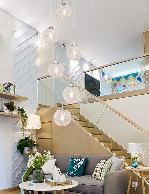 6 luces Hotel Villa Escalera Colgante de techo alto Luz Minimalista Escalera de caracol Araña larga Lámpara de araña creativa moderna Sala de estar Restaurante Lámpara de araña Bola de cristal 30x150c:
