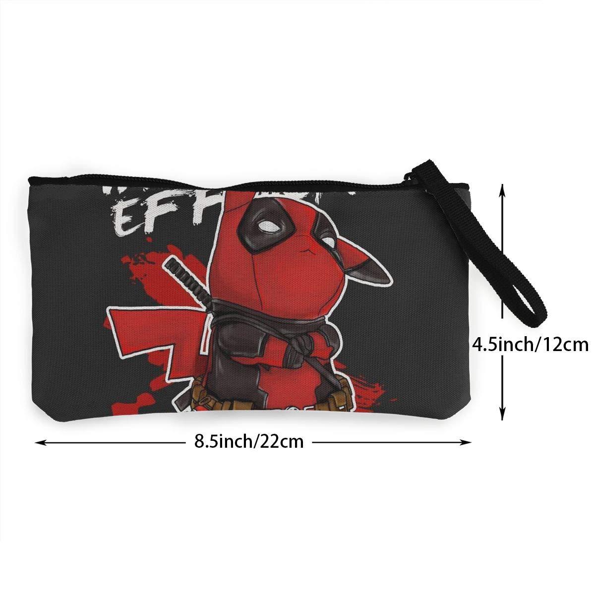 Dead-pool Pika/_chu Zipper Coin Purse Canvas Wallet Bag Change Purse Pouch Key Holder With Strap