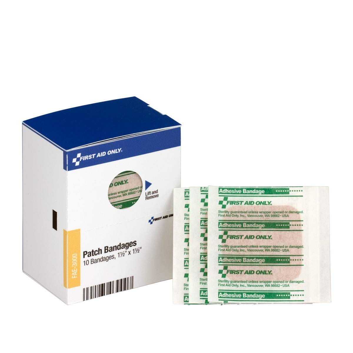 SmartCompliance Refill 1 1/2' X 1 1/2' Patch Plastic Bandages, 10 Per Box | Emergency Kit Trauma Kits First Aid Cabinet Refills Brite Safety BS-FAK-FAE-3000-1-FM