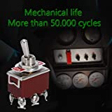 ESUPPORT Silver Contact Car Univeral Heavy Duty 20A 125V DPDT 6 Terminal ON/OFF/ON Rocker Toggle Switch Metal Pack of 5