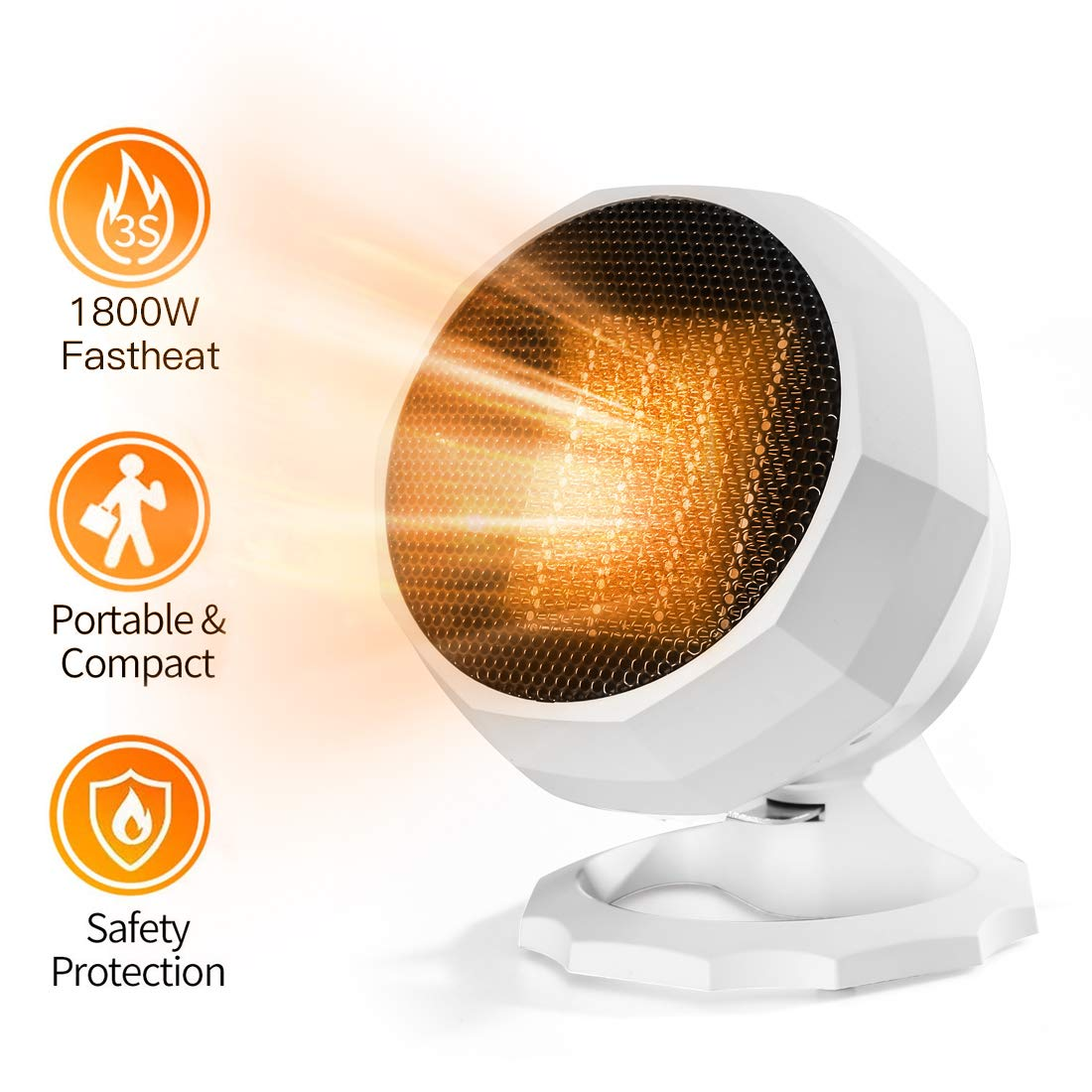 Space Heater,1800W 1000W Electric Portable Hater,Up and down 90 degree adjustable and 3 Adjustable Thermostat with Overheat Protection For Home Office Bedroom and Bathroom, Personal Desk Heater