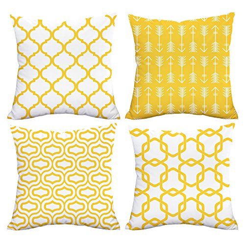 Set of 4, 18 x 18 Lemon Yellow Throw Pillow Covers