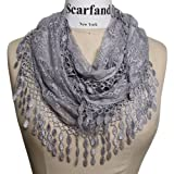 Scarfand's Delicate Lace Infinity Scarf with Teardrop Fringes (Slate)