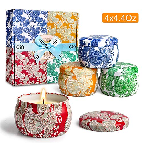 (YMing Scented Candles,Violet, Lavender, Cider Scent and Spring, Natural Soy Wax Portable Travel Tin Candle,Set Gift of 4)