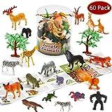 Joyin Toy 60 Pieces Safari Jungle Animal Figures Toddler Toy Set Realistic Wild Plastic Animal Playset - Animal Encyclopedia Included (2.5 to 5.5 Inches)