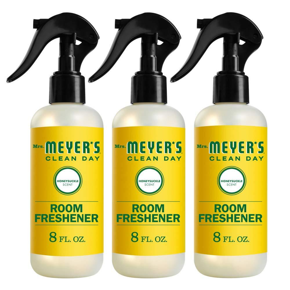 Mrs. Meyer's Clean Day Room Freshener, Honeysuckle Scent, 8 Ounce Non-aerosol Spray Bottle (Pack of 3)