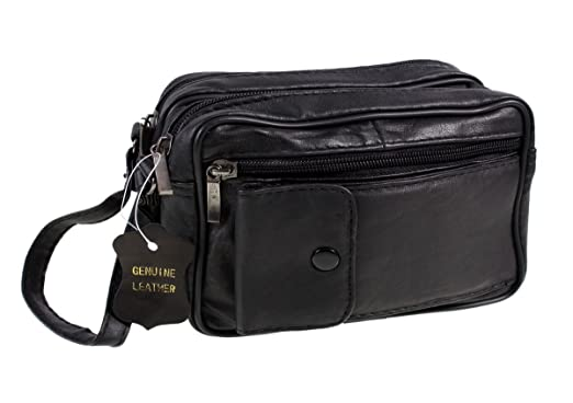 Mens Lorenz Man Bag Leather Black With Wrist Strap: Amazon.co.uk ...