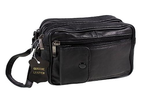 Mens Lorenz Soft Black Leather Travel Wrist Bag W12/1962 By Classyshades