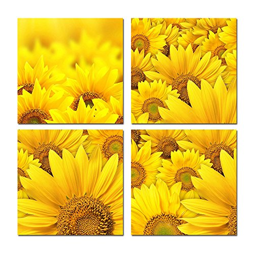 Purple Verbena Art 12''x12'', 4pcs Modern Yellow Sunflowers Pictures Photo Prints on Canvas Home Decor Walls Artwork Paintings, High Giclee Stretched and Framed Wall Picture Painting for Living Room