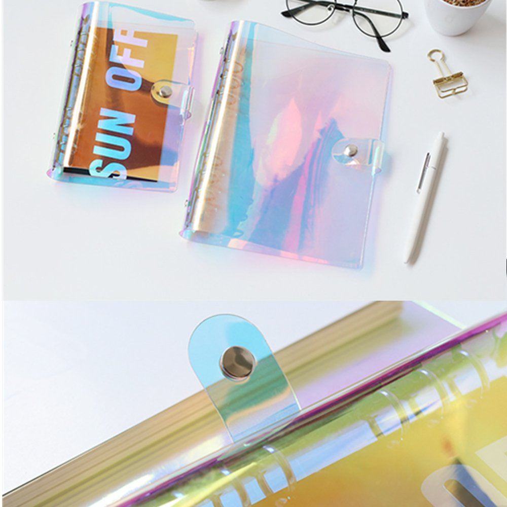 MEI YI TIAN Personal A5 Size 7''x9.25'' 6-ring Rainbow Binder Covers Colorful Clear Soft PVC Notebook Round Ring Binder Cover Protector Snap Button Closure Loose Leaf Folder (Colorful, A5) by MEI YI TIAN (Image #4)