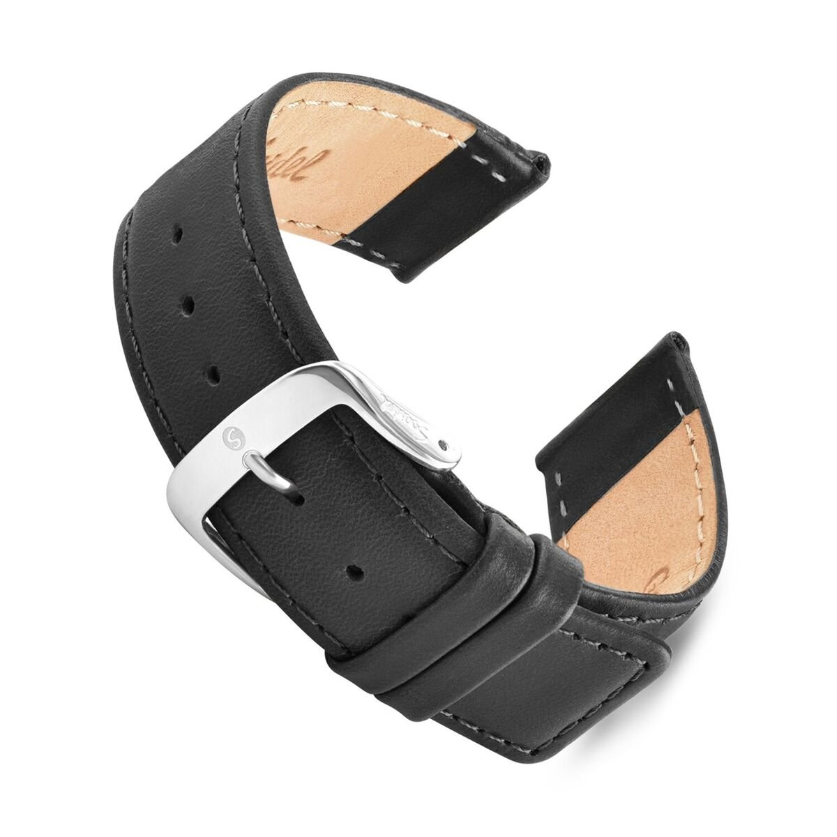 Speidel Genuine Leather Square Tip Watch Band 20mm Long Black Oiled Leather Replacement Strap, Stainless Steel Metal Buckle Clasp, Watchband Fits Most Watch Brands