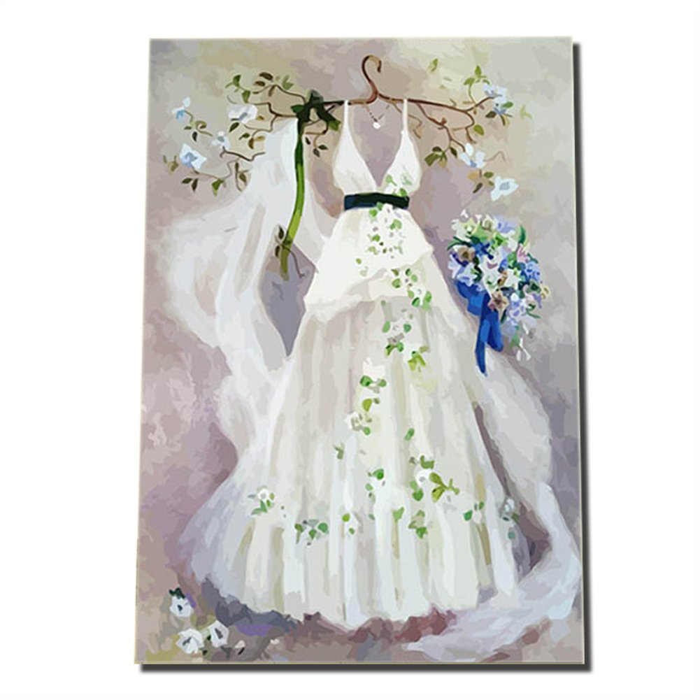 Creative Doityourself Digital Oil Painting Couples Wedding Handpainted And Painted Large Living Room Decorative Abstract Dream Dress: Abstract Art Wedding Dress At Websimilar.org