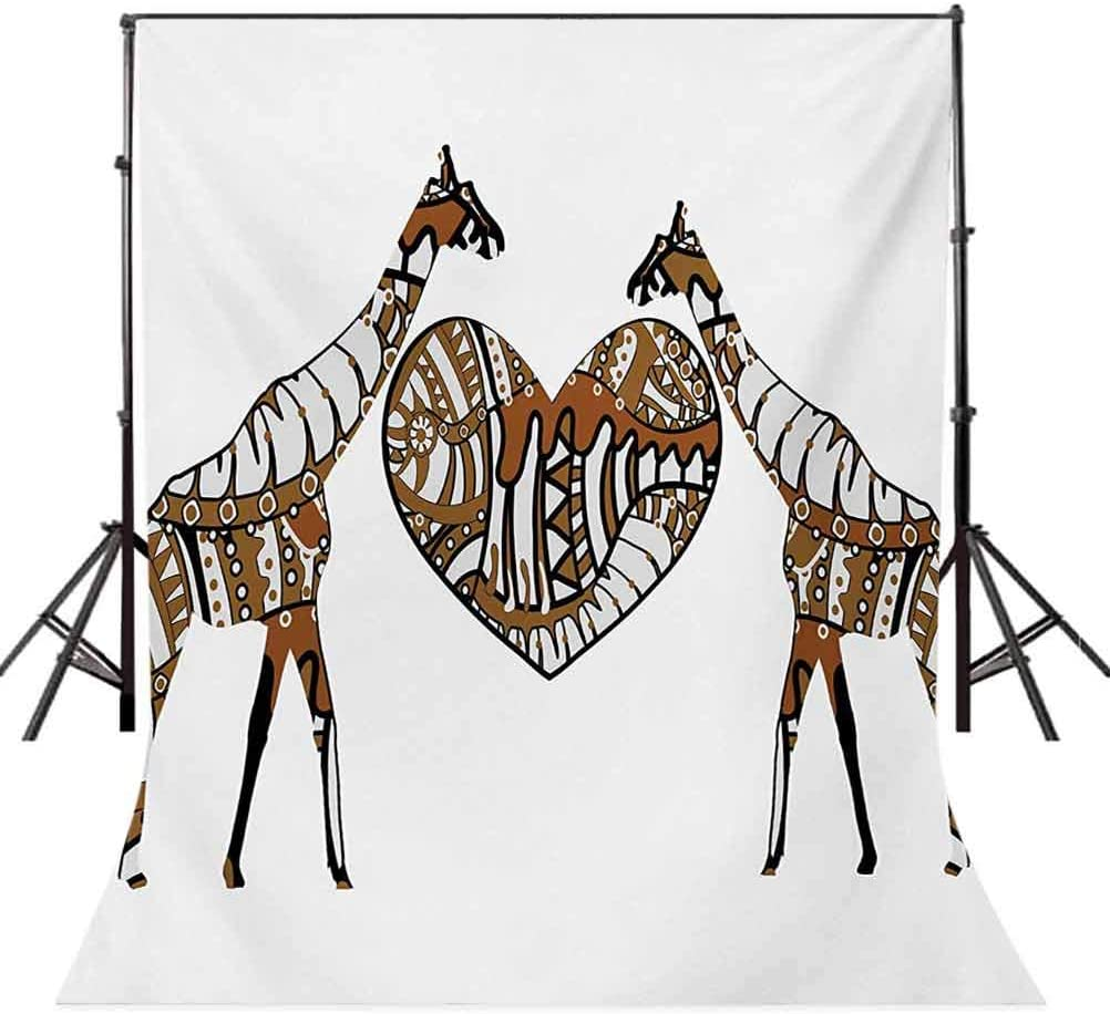 10x15 FT Photo Backdrops,Soul Mate Giraffes with A Giant Heart Valentines Love in Nature Bohemian Print Background for Baby Shower Bridal Wedding Studio Photography Pictures Brown White