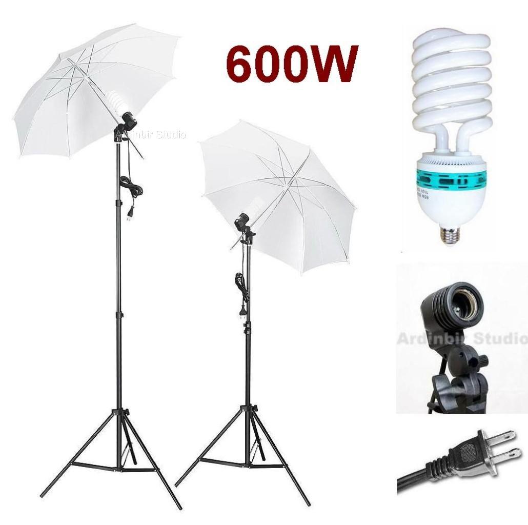 Ardinbir Studio 600W Photo White Translucent Umbrella kit with Continuous Light, Socket and Stand by Ardinbir Studio