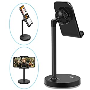 """Adjustable Cell Phone Stand Holder for Desk Universal fits All Cellphones Compatible iPhone Xs Max XR X 6 6S 7 8 Plus, Galaxy S10 Plus Note 9& 7""""-13"""" Tablets iPad, Great for Facetime& Recipe Reading"""
