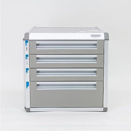 Cajones de almacenamiento de aleación de aluminio Organizador de la unidad de almacenamiento de escritorio Armario de archivo bloqueable A4 Caja para ...