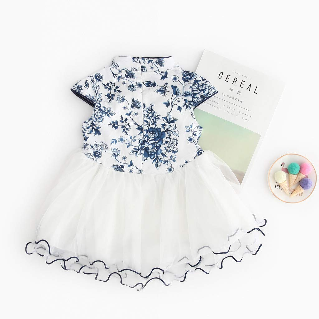 2019 Baby Girls Princess Lace Dress Toddler Kids Embroidery Cheongsam Party Dresses Tulle Tutu 1-5T (4-5 Years, Blue) by Dasuy (Image #5)