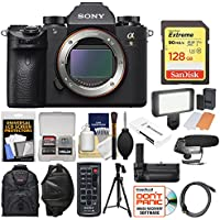 Sony Alpha A9 Wi-Fi 4K Digital Camera Body with 128GB Card + Backpack + Video Light + Grip + Tripod + Mic + Wrist Strap + Kit