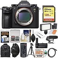Sony Alpha A9 Wi-Fi 4K Digital Camera Body with 128GB Card + Backpack + Video Light + Grip + Tripod + Mic + Wrist Strap + Kit