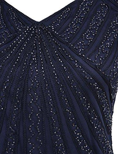 Inspirert Kleid Spitze Flapper Deco Perlen Art Jahre Franse 1920er Retro Kayamiya Blau Damen nqUgII
