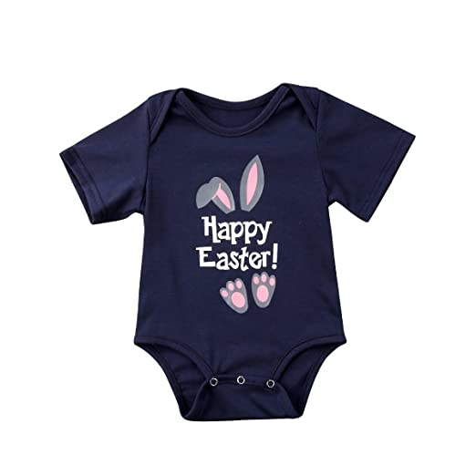 cdf4bbae24f Amazon.com  Wallarenear Newborn Infant Kids Baby Girls Boy Bunny Ears Easter  Romper Short Sleeve Onesies Jumpsuit Clothes Outfits  Clothing
