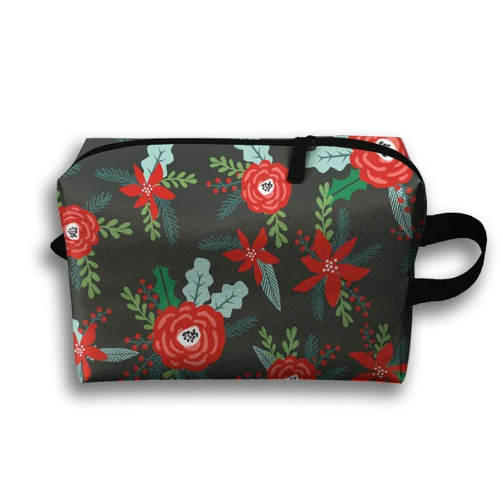 1db4382081ab Amazon.com: Poinsettias Xmas Posy Red & Green Christmas Portable ...