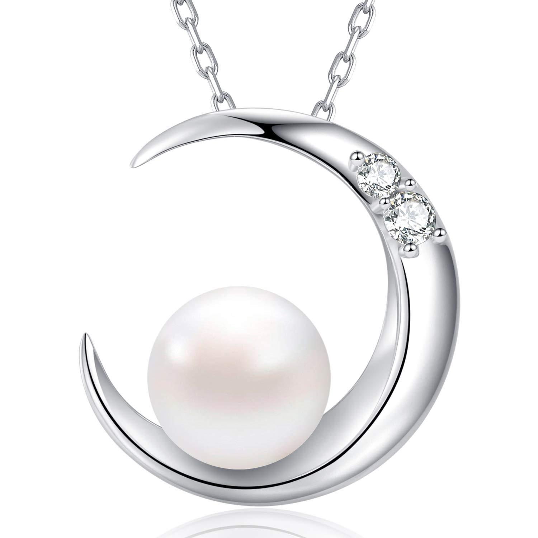 MEGA CREATIVE JEWELRY Collar Luna Perla para Mujer Plata 925 con Cristales Swarovski product image