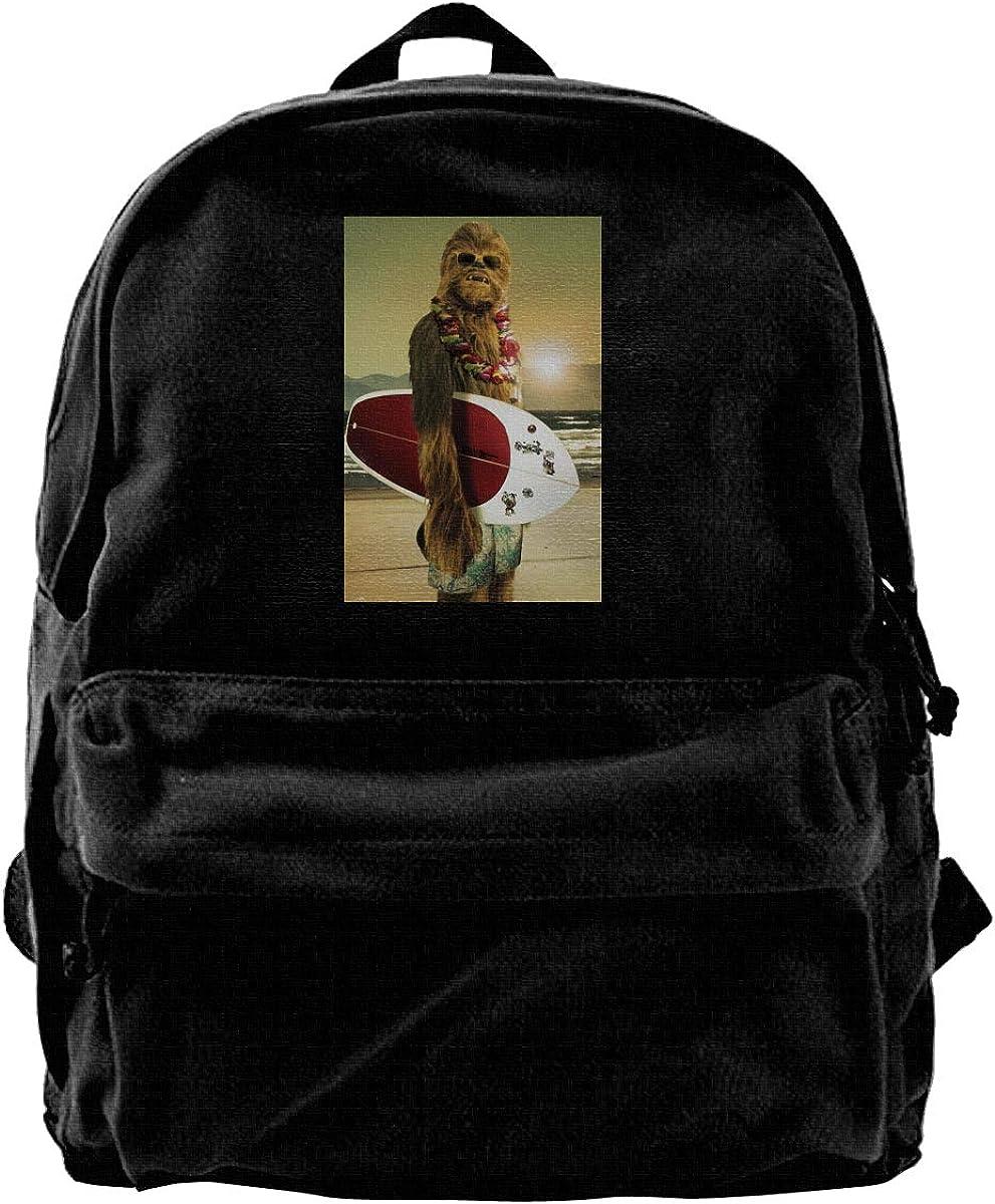 WUHONZS Canvas Backpack Cool Funny Chewbacca Surfing Poster Rucksack Gym Hiking Laptop Shoulder Bag Daypack for Men Women