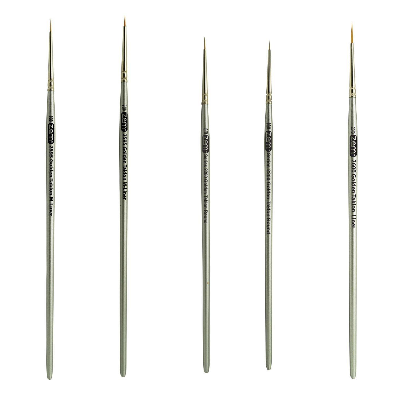 ZEM BRUSH Golden Taklon Mini Detail Brush Set Liner 20/0, Mini Liners 20/0, 10/0, Details 10/0, 5/0 AS-36