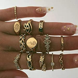 Personalized diamond leaf ring retro joint ring set 13 piece set