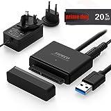 """USB Disque Dur Adaptateur, FIDECO USB 3.0 Cble Adaptateur SATA pour 2.5""""/3.5"""" HDD SSD avec 12V 2A Puissance Adaptateur Supporte UASP(Type A)"""