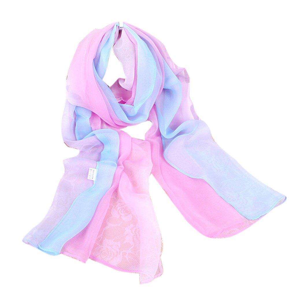 TUDUZ Women Scarves Fashion Lady Gradient Color Long Wrap Women's Shawl Chiffon Scarf Scarves 160 * 50CM)