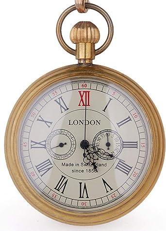 Reloj de Bolsillo para Hombre con diseño de Londres de Cobre Envejecido, con Caja de Regalo: Amazon.es: Relojes