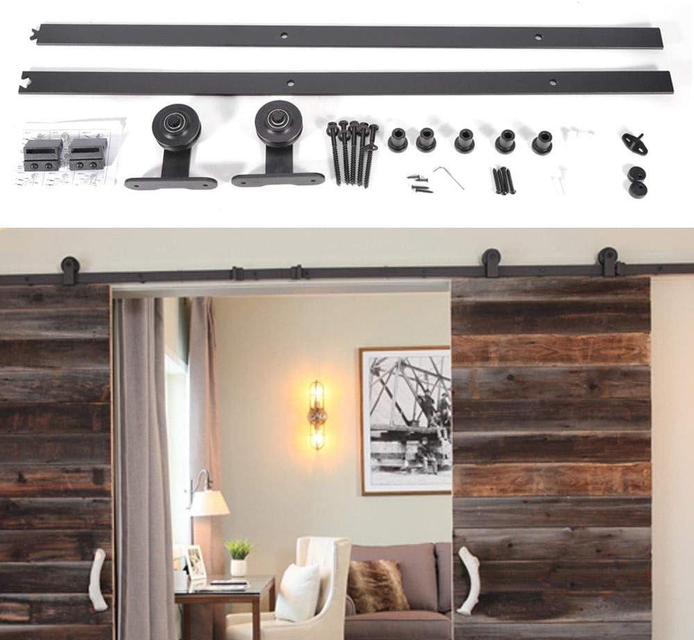 MOMOJA Kit de herrajes para puertas corredizas corredizas Instalación de Rieles para Puerta Corredera Simple y fácil de instalar: ajuste el panel de la puerta con un grosor de 35 mm a