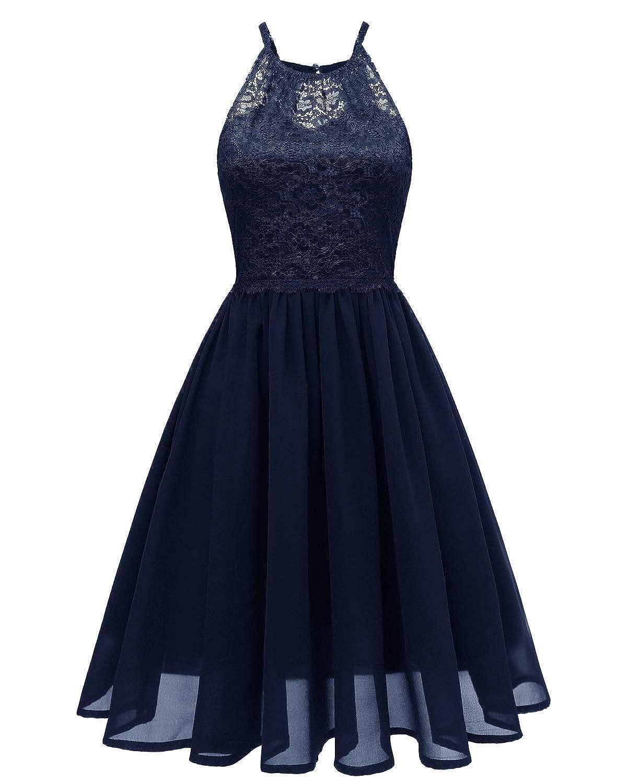 Navy bluee Zooka Summer Lace Dress Women Party Elegant Vintage Retro Wedding Sexy Belted Midi VNeck