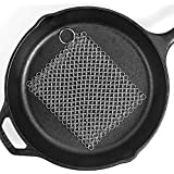 "316L Stainless Steel Cast Iron Cleaner,8""x6"" Cast Iron pan Chainmail, Chainmail Scrubber for Cast Iron Pan Pre-Seasoned Pan Dutch Ovens Cleaner, Cast Iron Cleaner Chainmail Scrubber for Waffle Iron Pa"
