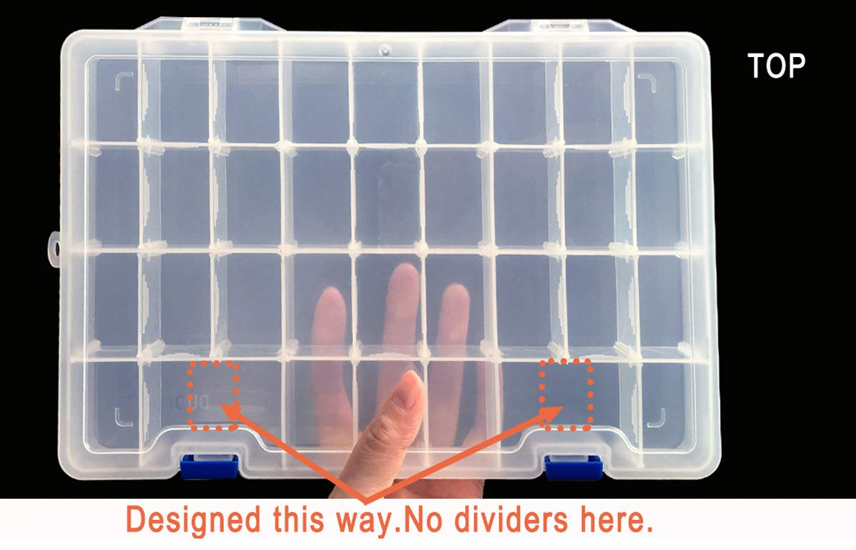 Clear Qualsen Plastic Compartment Box with Adjustable Dividers Craft Tackle Organizer Storage Containers Box 34Grid 1PC