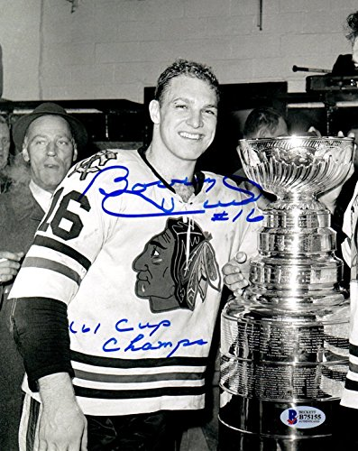 Beckett-BAS Bobby Hull '61 Cup Champs Autographed Signed Chicago Blackhawks 1961 Stanley Cup 8x10 Photo Photograph ()