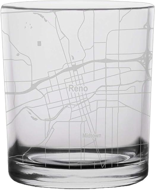 Reno City Map Whiskey Glass Nevada