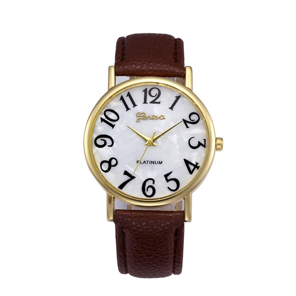Amazon.com: Dressin Womens Men Quartz Watch,Fashion Casual Retro Digital Dial Analog Leather Band Wrist Watch,Geneva Watch (Black): Clothing