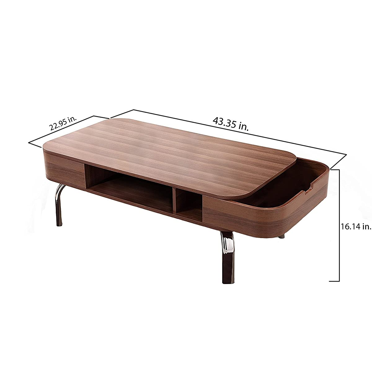 ioHOMES Luxer Coffee Table with Drawers, Walnut