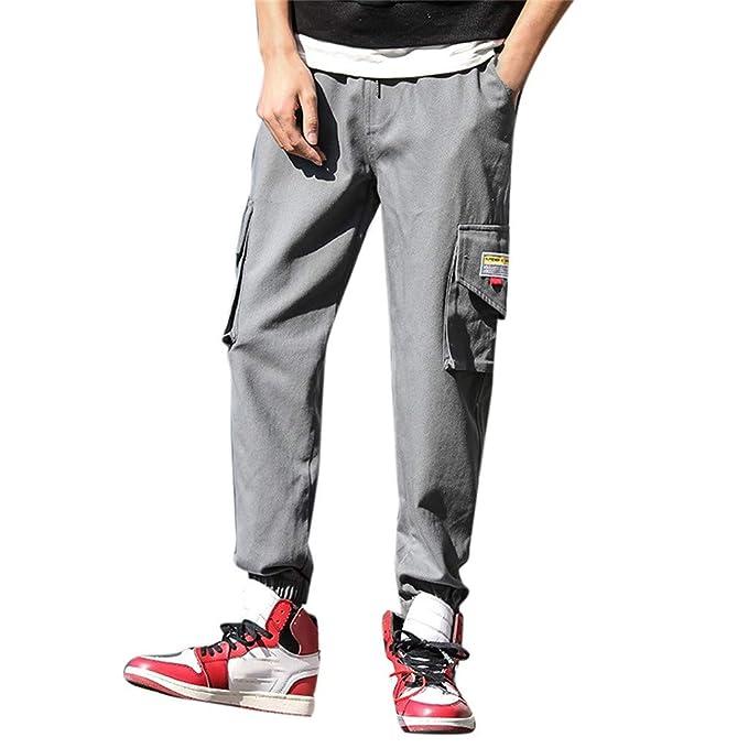Pantalones de Largos Cargo de Hombre Vaqueros Moda Color ...